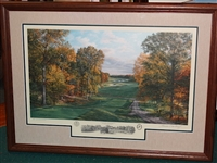 "TIGER WOODS WINNER, BETHPAGE 4TH HOLE- 2002 U.S. OPEN LITHOGRAPH BY LINDA HARTOUGH, LTD. ED. FRAMED 26"" x 36"""