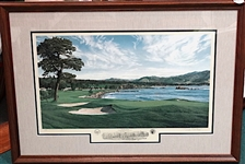 PEBBLE BEACH 18TH HOLE LITHOGRAPH BY CELEBRATED ARTIST LINDA HARTOUGH, ARTIST PROOF, SIGNED, FRAMED, 1992