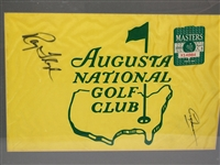 AUGUSTA NATIONAL GC SIGNED FLAG BY RAY FLOYD AND GREG NORMAN WITH THE BADGE 1990