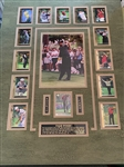 TIGER WOODS FRAMED 13 ROOKIE CARDS WITH HIS PHOTOGRAPH AND DESCRIPTION OF HIS CARRIER