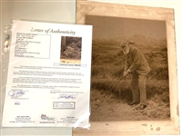 "OLD TOM MORRIS ORIGINAL SIGNATURE ON SEPIA PHOTOGRAPH WITH AUTHENTICATION LETTER FROM  JSA. SIZE 12"" x 15"""