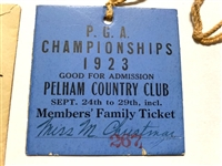 1923 PGA CHAMPIONSHIP EARLIEST KNOWN TOURNAMENT TICKET WITH ENVELOPE FROM JOHN WANAMAKER. SARAZEN BEATS HAGEN