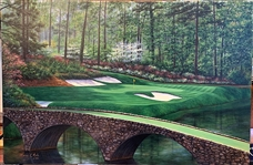 "AUGUSTA NATIONAL GC, 12TH HOLE """"GOLDEN BELL"" ORIGINAL OIL PAINTING BY MARCI RULE. FRAMED 24"" X 36"""