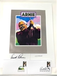 ARNOLD PALMER SIGNATURE WITH ONE OF KIND PORTRAIT AND 2 FIRST DAY ISSUE ENVELOPES.