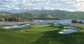 "1991 17TH HOLE, PEBBLE BEACH LT. ED. #191/375 SERIGRAPH BY LINDA HARTOUGH (SOLD OUT), SIZE 40"" X 50"""