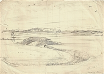 "ST. ANDREWS, ""SWILCAN BURN"" ORIGINAL PENCIL SKETCH BY ARTHUR WEAVER FROM THE COLLECTION OF FAMILY MEMBER"