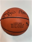 LARRY BIRD AND MAGIC JOHNSON AUTOGRAPHED OFFICIAL NBA GAME BASKETBALL WITH COA