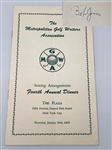 SIGNED BY BOB JONES 1956 FOURTH ANNUAL DINNER PROGRAM HELD AT THE PLAZA BY METROPOLITAN GOLF WRITERS ASSOC.