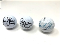SET OF 3 SIGNED GOLF BALLS BY HALL- OF- FAMERS, STEVE YOUNG , PAUL HORNING  AND BART STARR