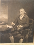 RARE 1796 ENGRAVED MEZZOTINT - 2ND GOLF PRINT EVER PUBLISHED. SUBJECT IS JAMES BALFOUR, ESQ. PAINTED BY RAEBURN
