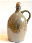 CERAMIC JUG C. 1920 WITH SILVER OVERLAY WITH MUSIC BOX AND SPORTS GOLF THEME