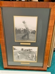 BOBBY JONES PLAYS 8TH HOLE UNDER CONSTRUCTION AT AUGUSTA NATIONAL GOLF COURSE AND EARLY PHOTO OF BEN HOGAN FRAMED COLLAGE