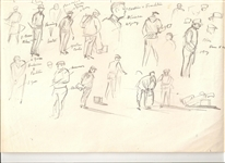 ORIGINAL GOLF PENCIL SKETCH BY ARTHUR WEAVER FROM PERSONAL COLLECTION FROM A FAMILY MEMBER