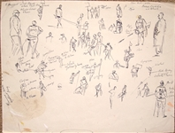 "ORIGINAL PENCIL SKETCH BY ARTHUR WEAVER ""GOLF FIGURE STUDIES"" (CADDIES) FROM COLLECTION OF THE FAMILY MEMBER"