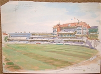 ORIGINAL GOUACHE BY ARTHUR WEAVER OF CRICKET MATCH, 1995 FROM PERSONAL COLLECTION OF FAMILY MEMBER