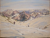 ORIGINAL GOUACHE PAINTING OF SKIING IN SWITZERLAND, INITIALED, 1995 FROM COLLECTION OF FAMILY MEMBER