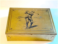 "ANTIQUE METAL BOX WITH GOLF THEME ENGRAVING WITH WOODEN INSERT, SIZE 5"" X 7"" -VERY GOOD CONDITION"